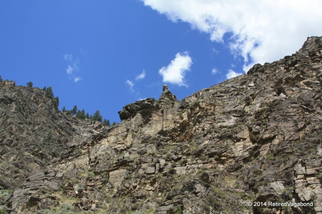 Steep Terrain with an interesting rock formation at the top
