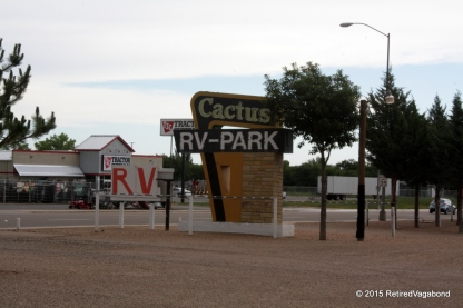 Cactus RV Park Sign Greets Us